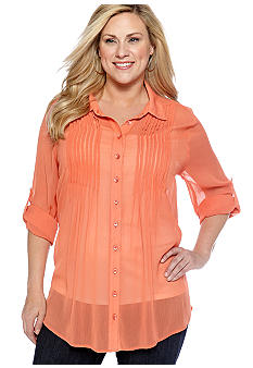 New Directions Plus Size Pleated Chiffon Blouse