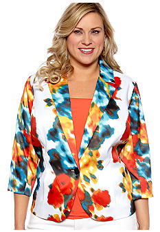 New Directions Plus Size Splatter Print Blazer