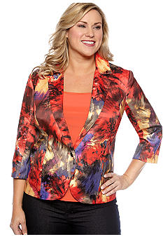 New Directions Plus Size Watercolor Floral Print Blazer
