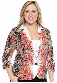 New Directions Plus Size Floral Print Mirror Jacket