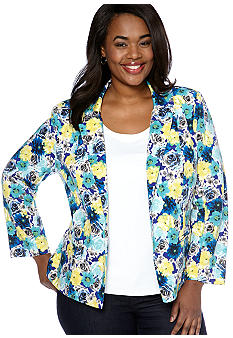 New Directions Plus Size Floral Print Blazer