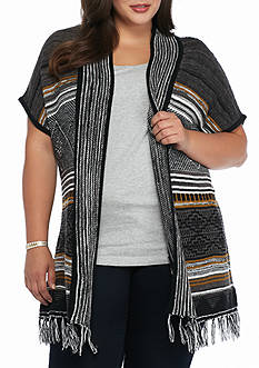 New Directions Plus Size Striped Fringe Cardigan