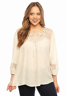 New Directions Plus Size Crochet and Lace Peasant Top