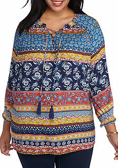 New Directions Plus Size Lace Up Medallion Stripe Top