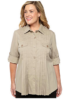 New Directions Plus Size Pleat Front Blouse