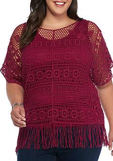 New Directions Plus Size Crochet Fringe Top