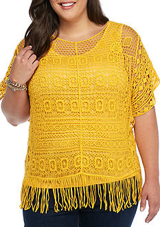 New Directions Plus Size Crochet Fringe Top
