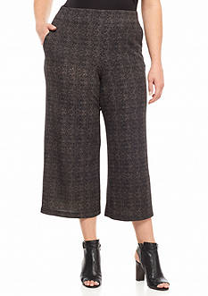 ND New Directions Plus Size Cropped Jacquard Printed Knit Pants