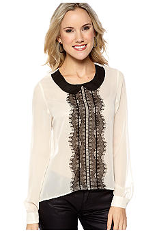 Lace Front Open Back Blouse