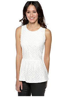 Romeo & Juliet Couture Eyelet Peplum Top
