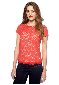 Romeo & Juliet Couture Short Sleeve Embellished Lace Top