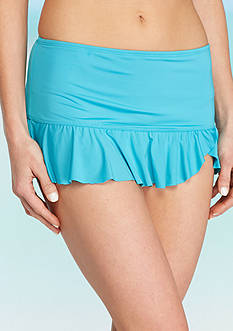 New Directions Solid Asymmetrical Ruffle Skirted Bottom
