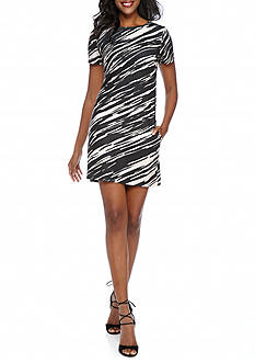 TRINA Trina Turk Zebra Ponte Shift Dress