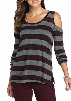 matty m Stripe Cold Shoulder Knit Top