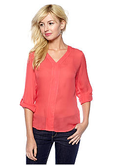 Matty M Roll Tab Sleeve V-Neck Blouse