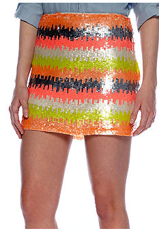 Willow and Clay Stripe Sequin Mini Skirt