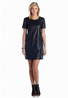Willow and Clay Short Sleeve Vegan Leather Dress