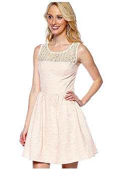Willow and Clay Lace Inset Jacquard Dress