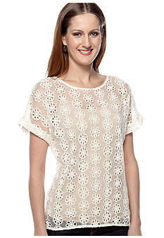 Willow and Clay Eyelet Short Sleeve Blouse
