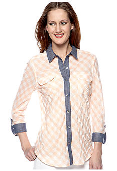 Willow and Clay Gingham Chambray Collar Button Up Shirt