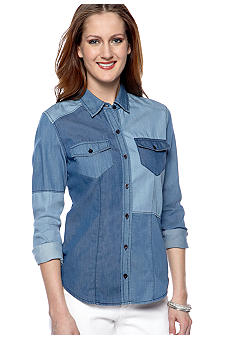 Willow and Clay Pieced Color Block Chambray Blouse