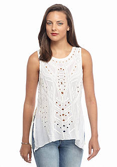 Willow and Clay High Low Open Embroidered Tank