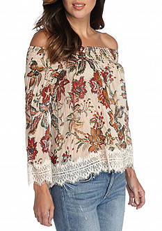 Willow and Clay Lace Trim Off The Shoulder Blouse