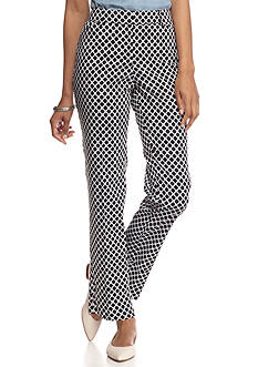 New Directions Printed Sateen Ankle Pants