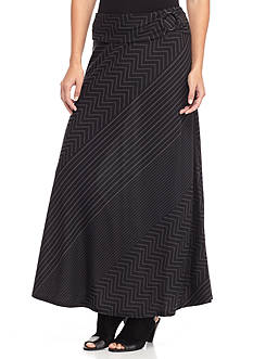 New Directions Mixed Stripe Maxi Skirt