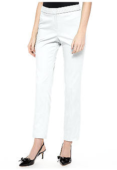 New Directions Petite Sateen Ankle Pant with Braided Waistband