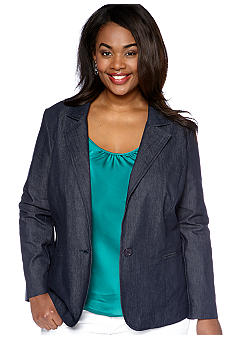 New Directions Plus Size One Button Blazer