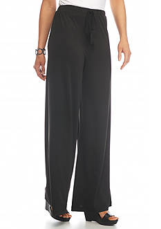 New Directions Solid Tassel Tie Palazzo Pant