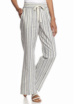 New Directions Petite Striped Linen Pants