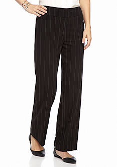 New Directions Petite Size Pull-On Pin Stripe Wide Leg Pants