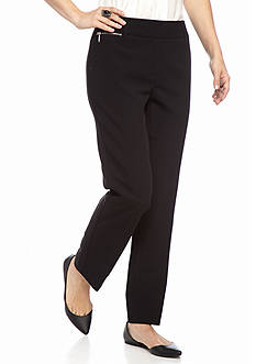 New Directions Petite Solid Viscose Slim Leg Pants