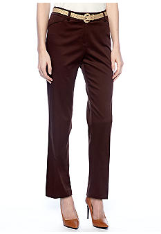 New Directions Petite Belted Sateen Pant