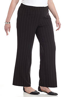 New Directions Plus Size Pinstripe Wide Leg Pants