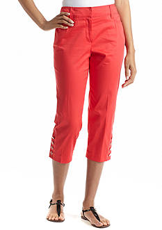 New Directions® Button Detail Slim Leg Sateen Crop Pant