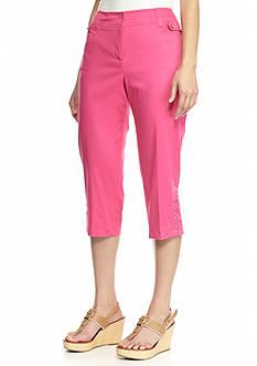 New Directions Petite Slim Leg Sateen Crop Pants