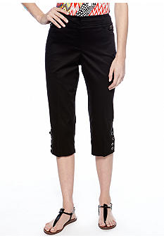 New Directions® Petite Sateen Button Tab Crop Pant