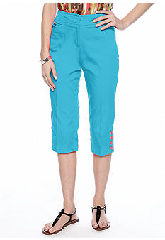 New Directions Petite Sateen Button Tab Crop Pant