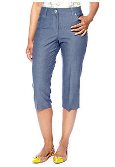 New Directions Petite Chambray Five Pocket Crop Pants