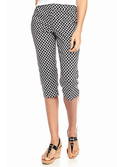 New Directions Petite Printed Editor Crop Pants