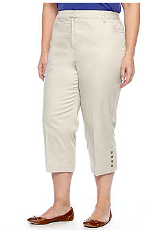 New Directions Plus Size Metal Stud Slim Leg Crop Pant
