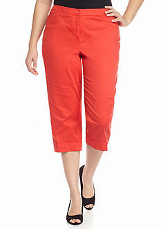 New Directions Plus Size Sateen Cuffed Crop Pant