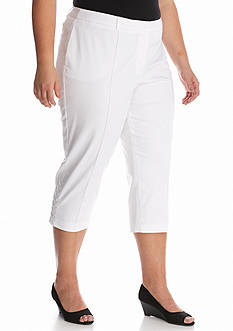 New Directions Plus Size Sateen Lace Up Crop Pants