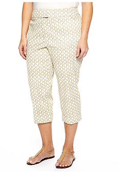 New Directions Plus Size Printed Slim Leg Capri