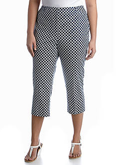 New Directions Plus Size Printed Cropped Pant