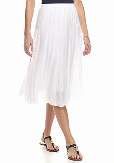 New Directions Pleated Midi Skirt