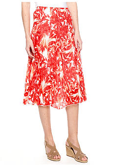 New Directions Printed Crinkle Skirt